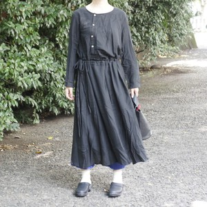Front Button Long Dress Black
