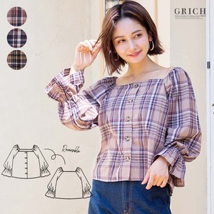 Top Square Neck Blouse Checkered A/W