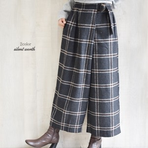 A/W Large Format Checkered Wrap wide pants