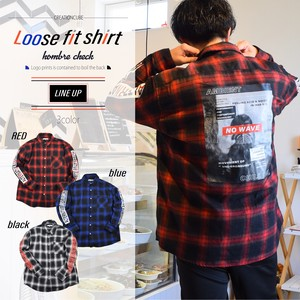 A/W Checkered Print Photo Bag Print Fit Shirt
