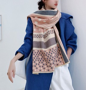 Large Format Wool Stole Scarf Thick Dot Stripe 2 Colors