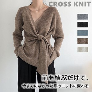 A/W Knitted Top Long Sleeve Sweater V-neck Front Closs Front Knot