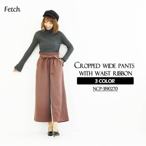 Waist Ribbon Attached Cropped wide pants