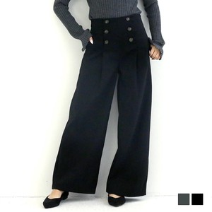 Button High-waisted wide pants