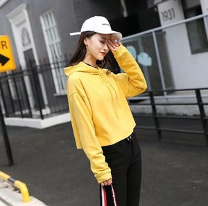 With Hood Hoody Ladies Top Adult Casual Sweat Top Yellow