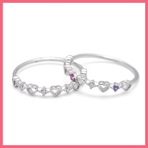 Heart Cubic Half Line Ring Silver