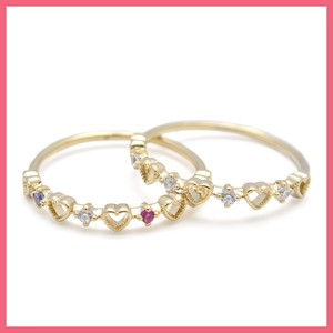 Heart Cubic Half Line Ring Gold