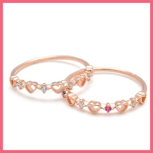 Heart Cubic Half Line Ring Pink Gold