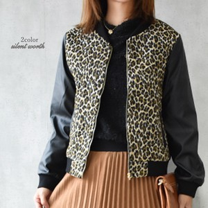 Leopard Synthetic Leather Switching Blouson