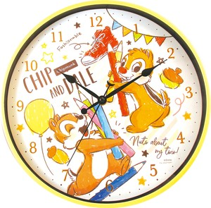 Disney Bib Index Wall Clock Chip 'n Dale