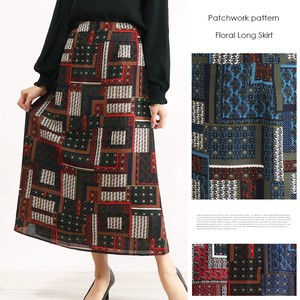 Lining Attached Flower Patchwork Long Skirt Floral Pattern Floret Pattern Ethnic