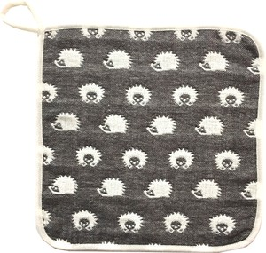 Gauze Elephant Fan Loop Attached Towel Gray