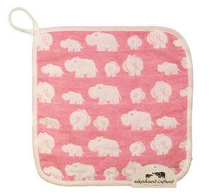 Gauze Elephant Fan Loop Attached Towel Pink