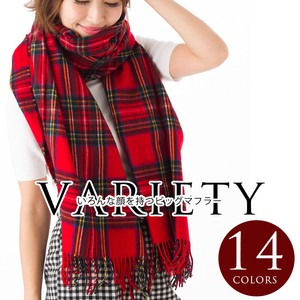 Variety Scarf Stole Big Style Wide Checkered 14 Colors