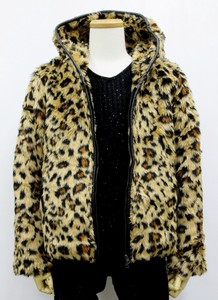 A/W Men's Fake Fur Jacket Piping Hoody Leopard