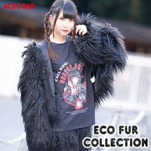 Eco Fur Coat Black Coat Fairy tale Yumekawa Korea Fake Fur A/W