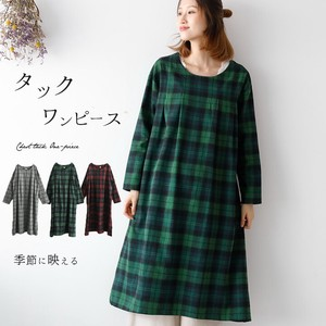 One-piece Dress Tunic Checkered One-piece Dress Gigging Tuck Natural Ladies