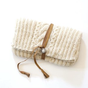 Hand Knitting Knitted Clutch Bag Natural