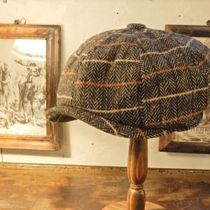 Wool Tweed Casquette Gray Checkered