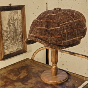 Wool Tweed Casquette Brown Checkered