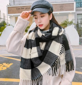 Scarf Poncho Ladies A/W Checkered Student Casual