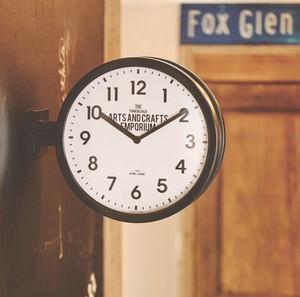ウォールクロック 両面時計 掛け時計 インダストリアル Robestonロベストン