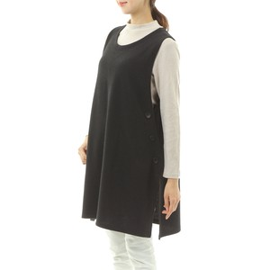 A/W 3 Colors Waffle Plain Button Attached Tunic Vest