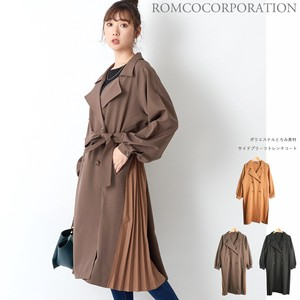 A/W Polyester Material Pleats Trench Coat