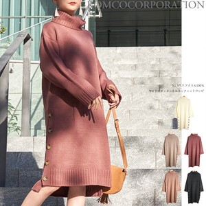A/W Jersey Stretch Button Turtle Neck Knitted One-piece Dress