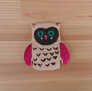 Badge Like Embroidery Brooch Owl