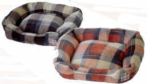 Set Flannel Print Pet Bed Square Shape