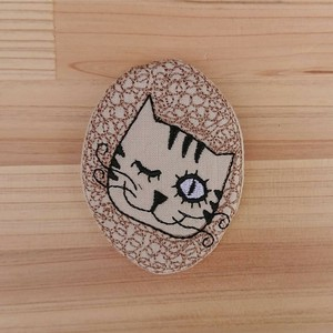 Badge Like Embroidery Brooch Ink