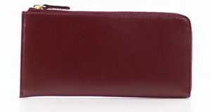 Fastener Long Wallet RED Leather Cow Leather