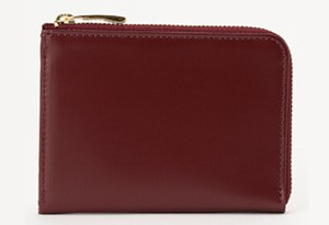 Half Fastener Wallet RED Leather Cow Leather