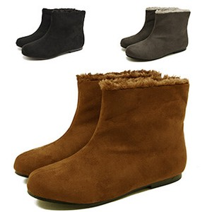 Shaft Fur Accent Flat Short Boots Color