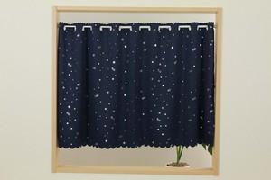 【小窓・カフェカーテン】カフェカーテン 拍プリント星柄75  ネイビーNBL