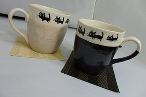 Black cat Walk Pair Mag Cups Cup Coaster