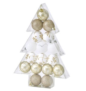 Christmas Party Ornament Ball 17 Pcs Set Gold