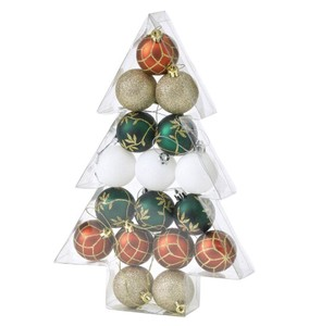 Christmas Party Ornament Ball 17 Pcs Set Red Green