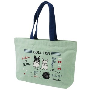 French Bulldog Dog Fastener Attached A4 Casual Tote Green