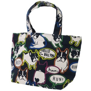 Lunch Tote French Bulldog Dog Canvas Tote Neon Bolt Black