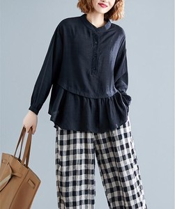 Casual Long Sleeve Frill Plain Leisurely Shirt Blouse