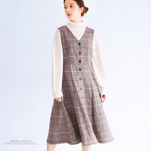 A/W Checkered Flare Zip‐up Jacket Skirt Checkered