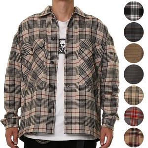 A/W 7 Colors Suit Set Checkered Gigging Cover All Shirt