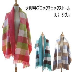 Pastel Color Reversible Large Format Thick Checkered Stole