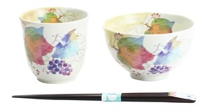 Mino Ware Gift Hana tsumi Rice Bowl Japanese Tea Cup Grape Chopstick