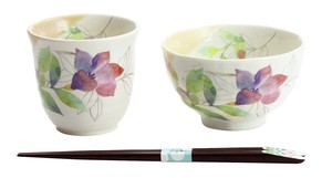 Mino Ware Gift Hana tsumi Rice Bowl Japanese Tea Cup Bellflower Chopstick