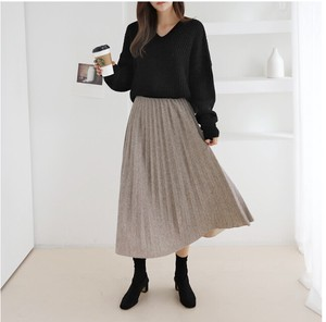 [2019NewItem] lame Pleats Knitted Skirt