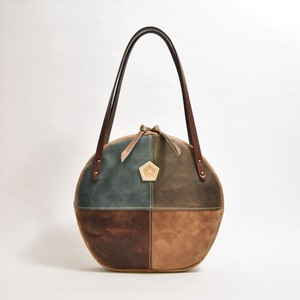 Genuine Leather Circle Tote Bag