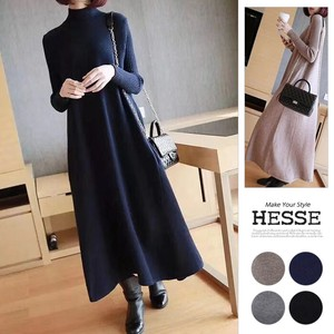 [2019NewItem] 4 Colors Long Sleeve Long Pocket Knitted One-piece Dress